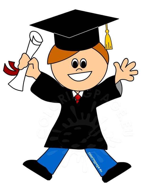 Cartoon smiling graduate boy