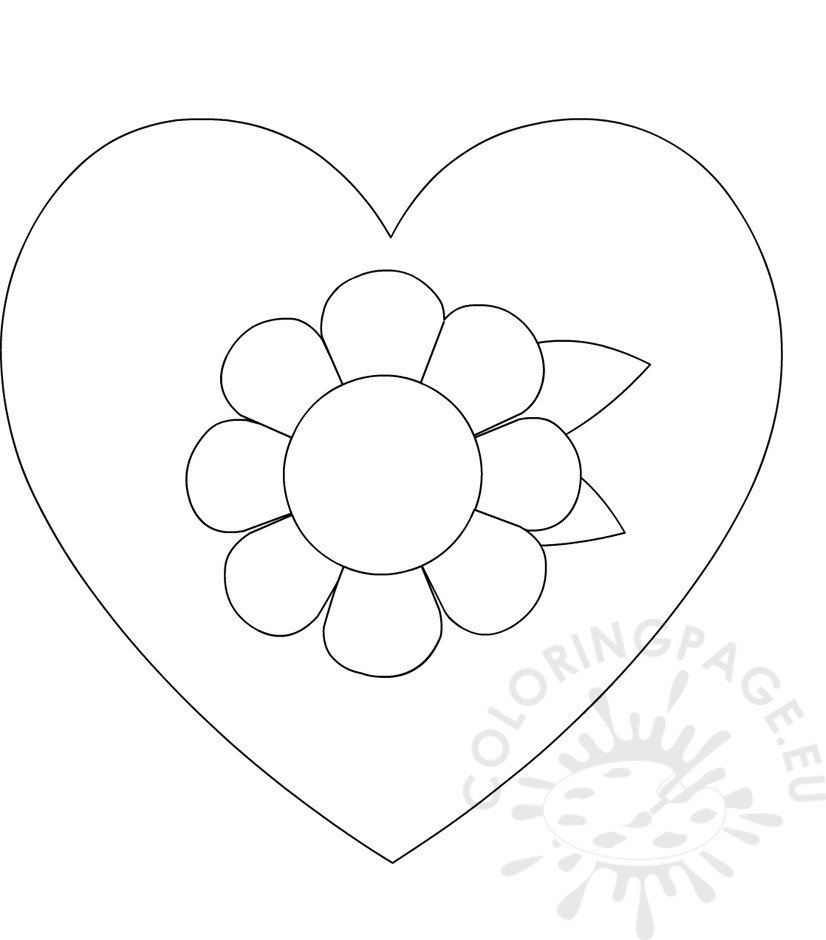 mother 39 s day coloring page heart flower coloring page