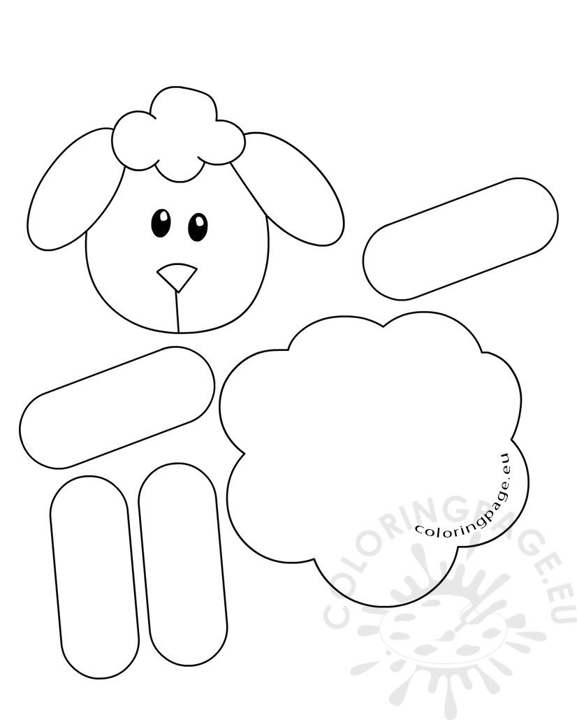 Lamb paper craft for preschool coloring page for Lamb template to print
