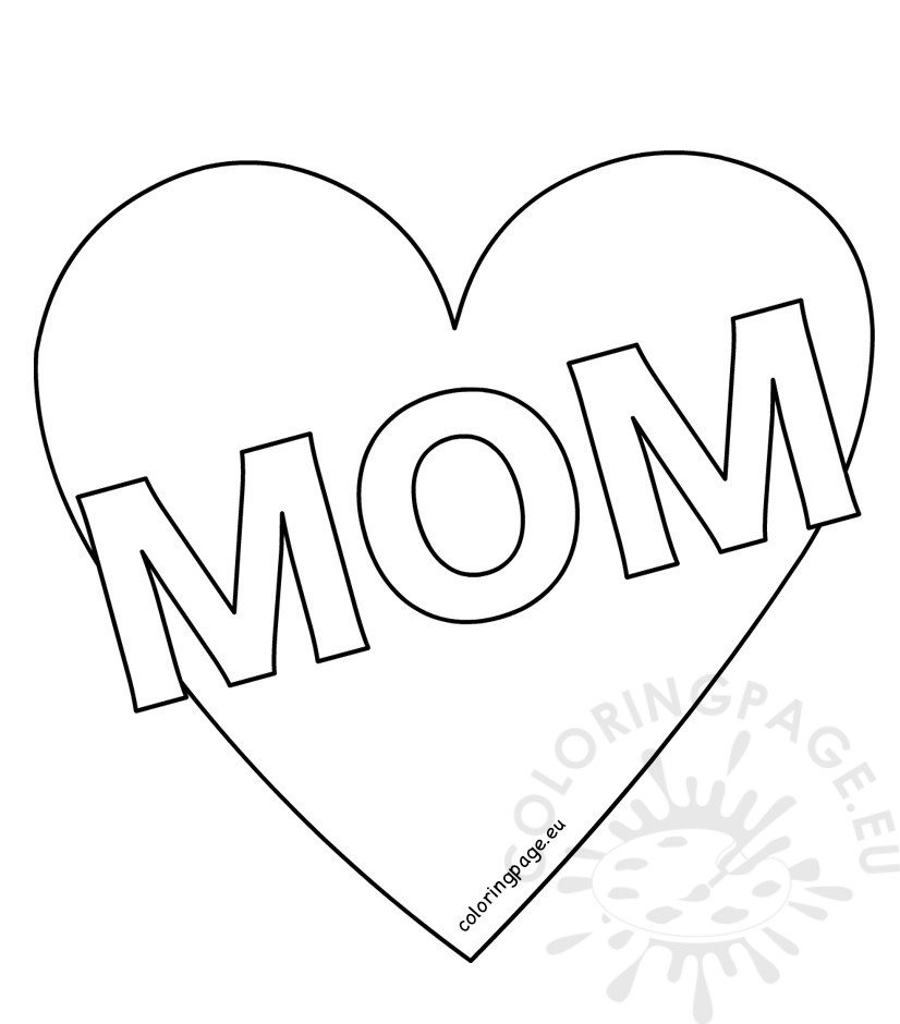 Mom Heart coloring page Mother's Day