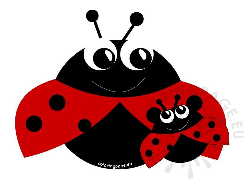 Mother's Day Mom and Son Ladybugs ClipArt