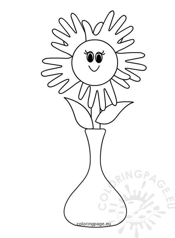 Single flower in vase Mothers Day 2017  Coloring Page