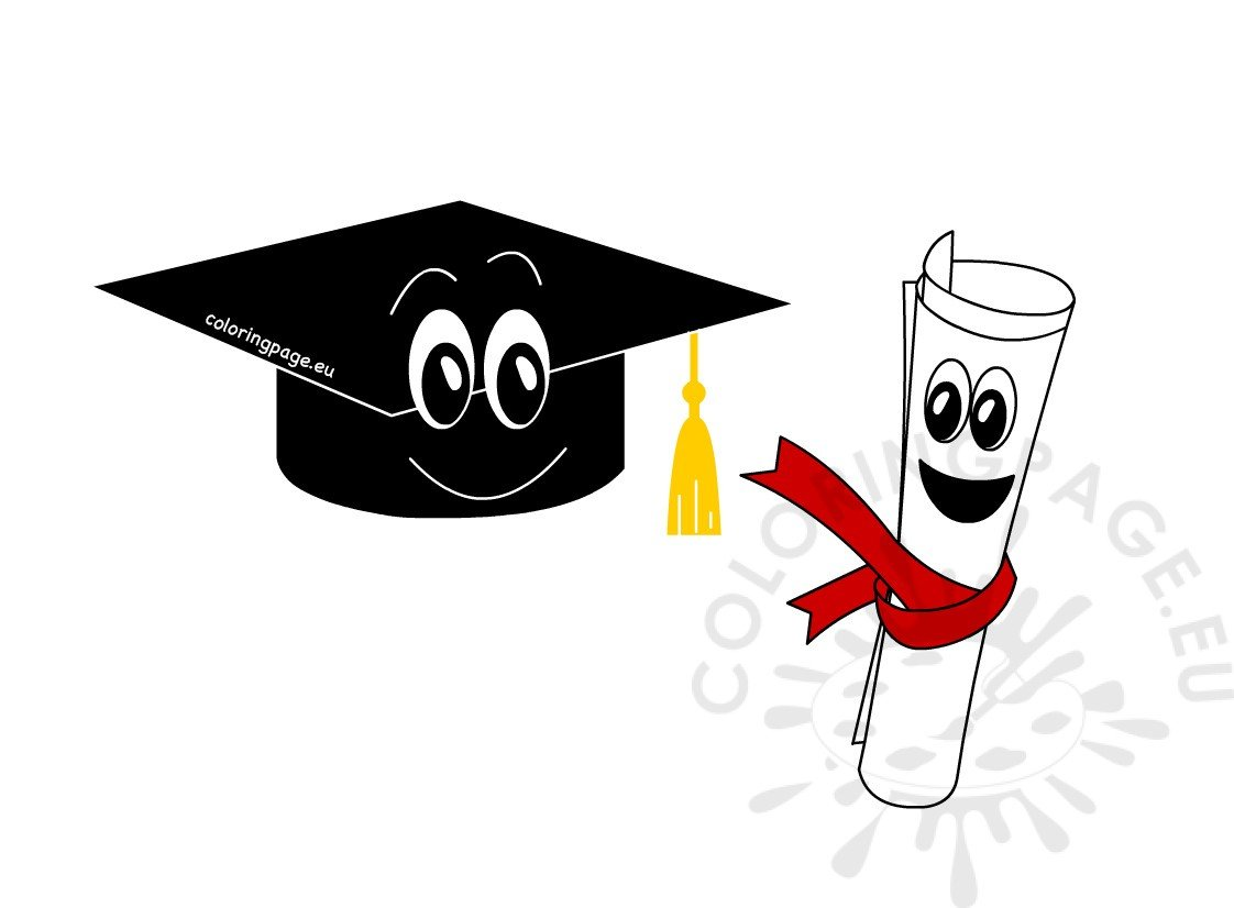 Graduation cap and diploma cartoon