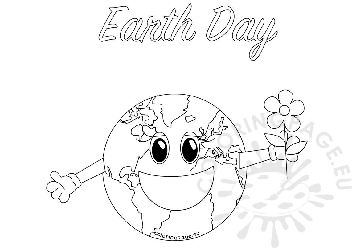 Coloring pages earth day - Happy Smiling Earth Day Globe
