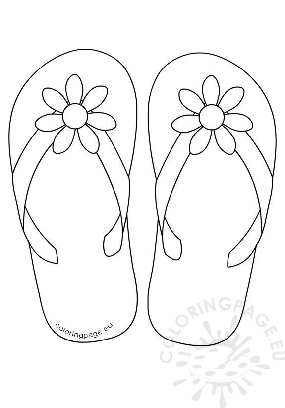 flip flops daisy flower button  u2013 coloring page