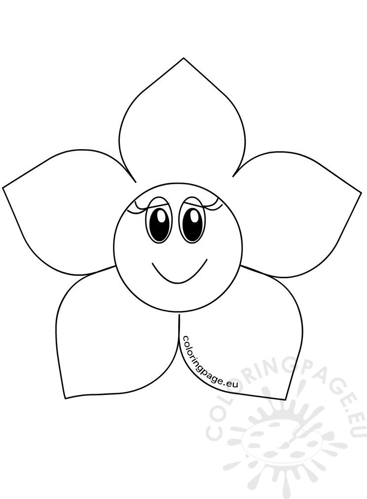 Flower Head Cartoon Template Coloring Page
