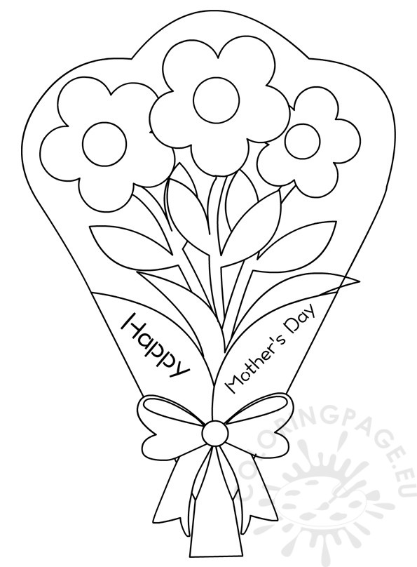 Flowers Bouquet Coloring Pages Mother S Day Coloring Page