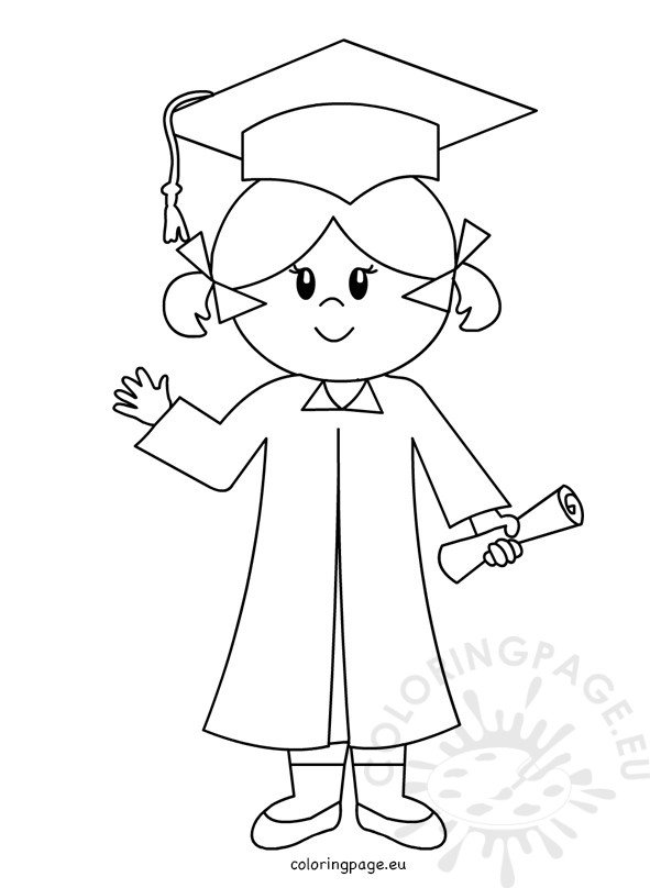 Happy Graduate Girl Line Drawing Coloring Page