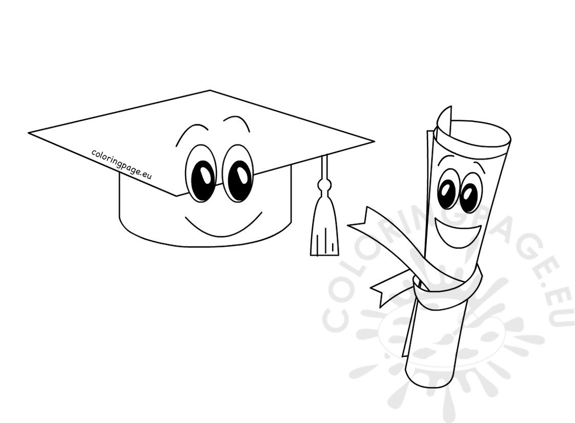 Cartoon graduation cap and diploma coloring page for Graduation cap and diploma coloring pages