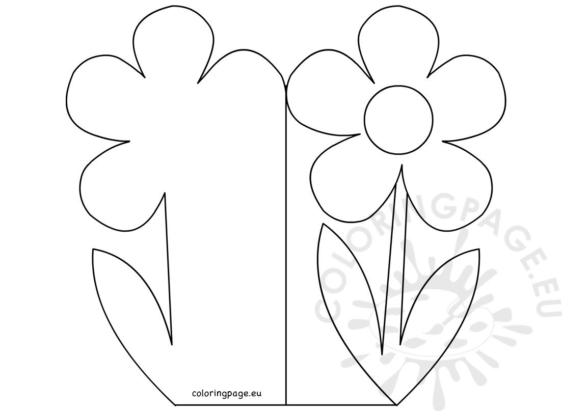 happy mother u0027s day cut out card flower with stem coloring page