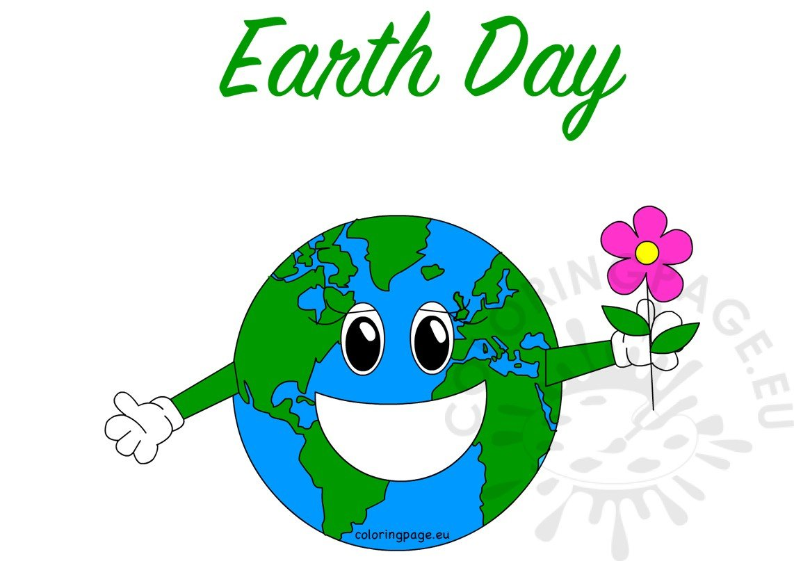 happy smiling earth day globe vector coloring page