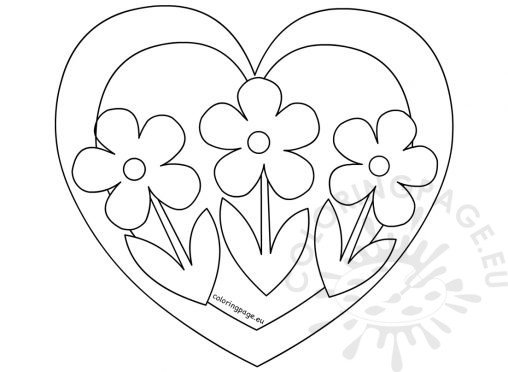 heart with three flowers coloring page - Coloring Pages Flowers Hearts
