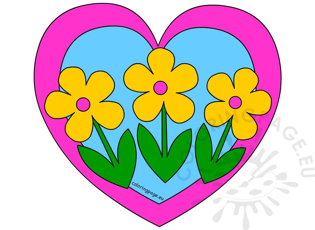 Heart with three yellow Flowers clip art – Coloring Page