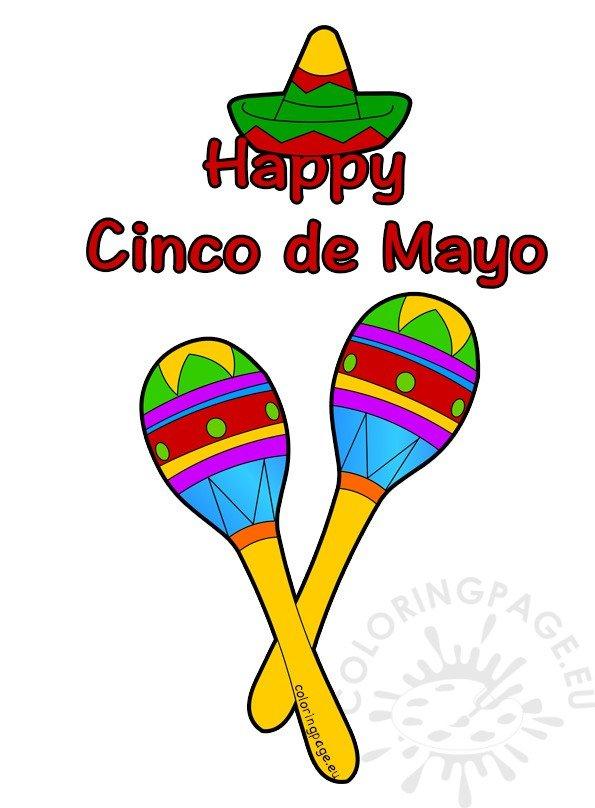 Happy Cinco de Mayo Sombrero and Maracas Coloring Page