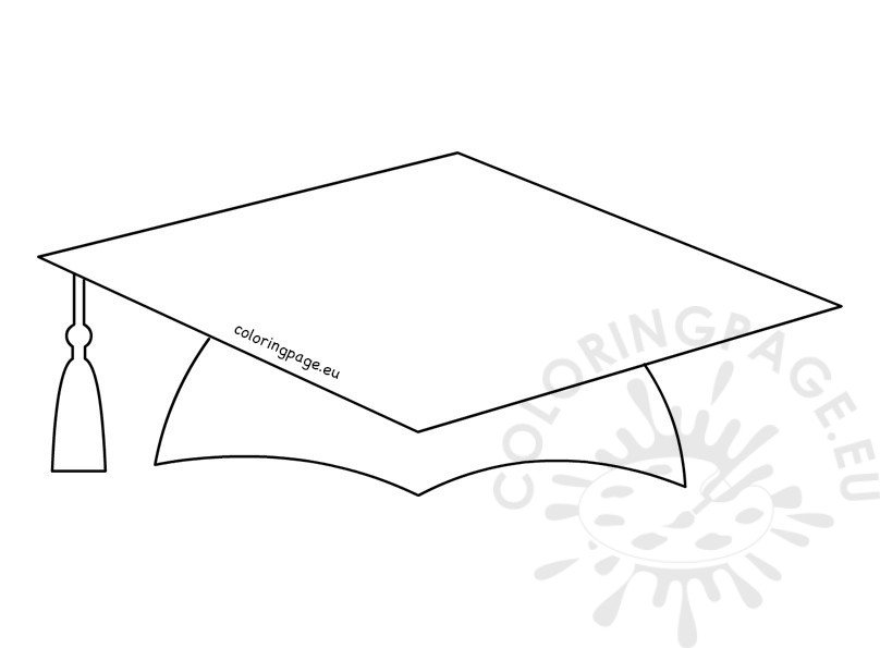 Printable School Graduation Cap Pattern Coloring Page