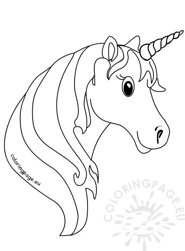 Unicorn face coloring Pages for