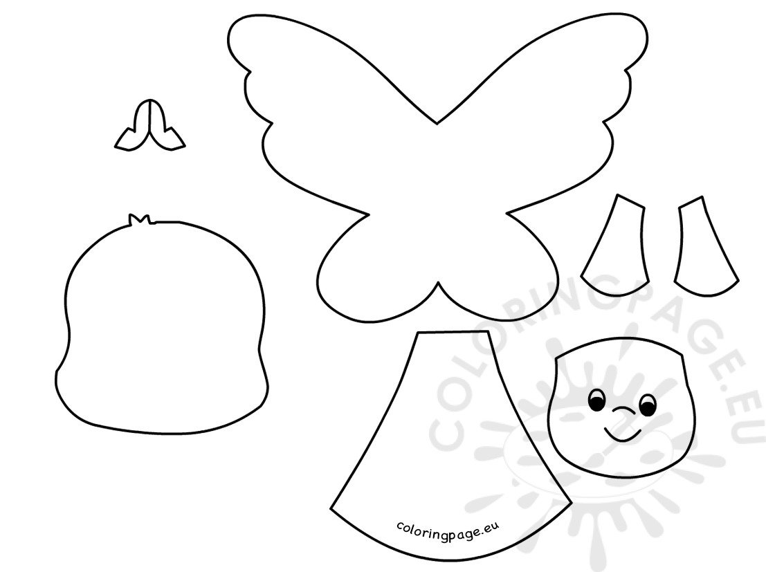 cute angel paper templates printable coloring page