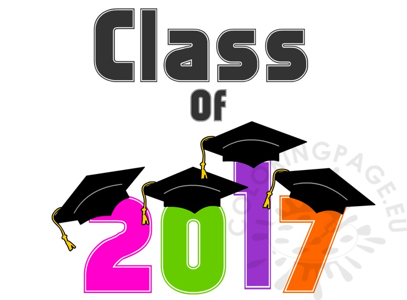 multicolor graduation class of 2017 coloring page rh coloringpage eu graduation clip art 2017 navy blue graduation clipart 2018