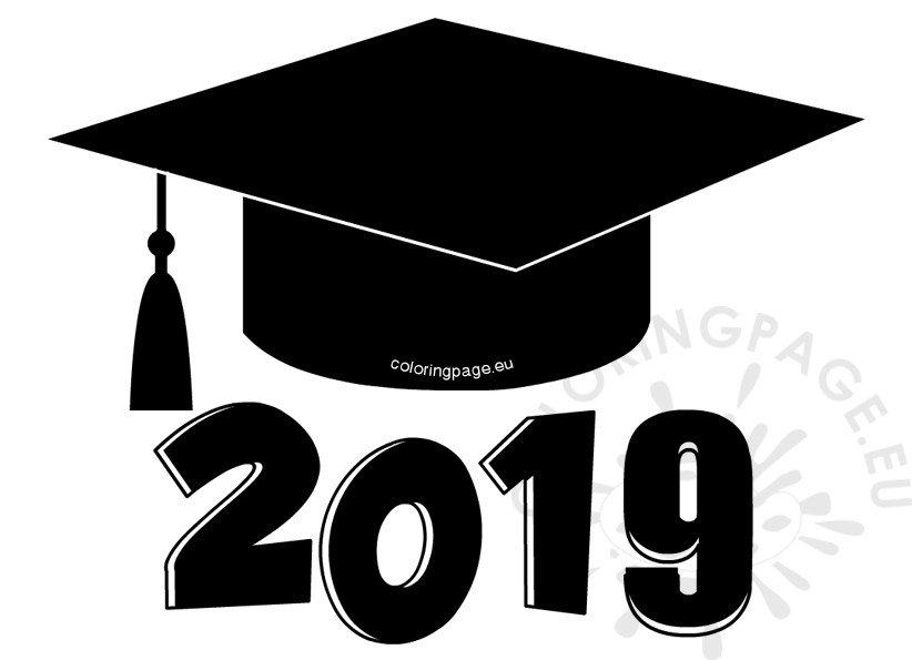 graduation coloring pages 2017 - graduation cap 2019 clip art coloring page