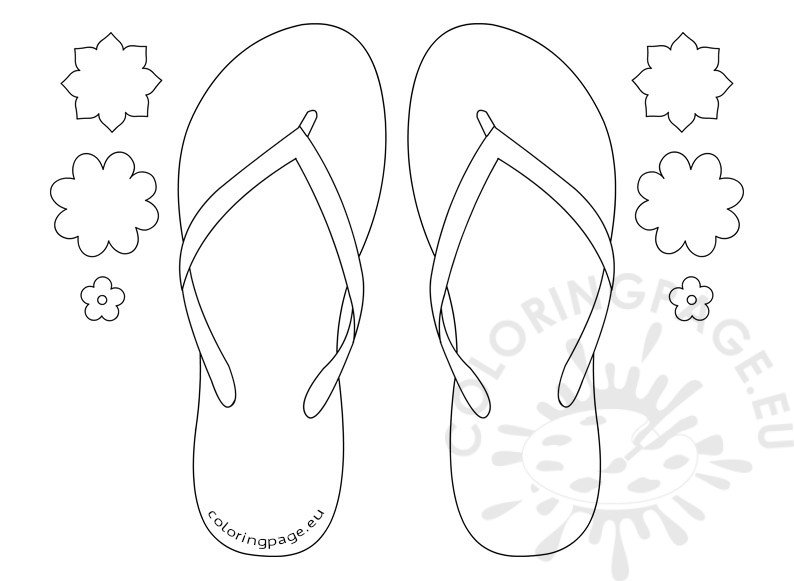 flip flops coloring pages - flip flop flowers pattern coloring page