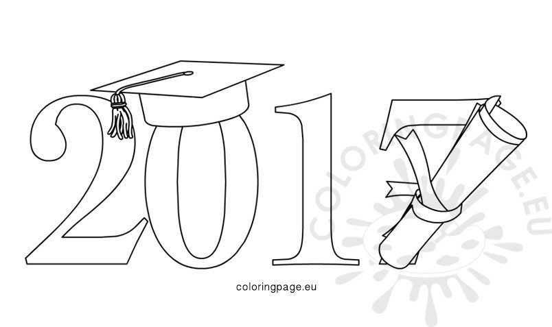 graduation class of 2017 design - Graduation Coloring Pages