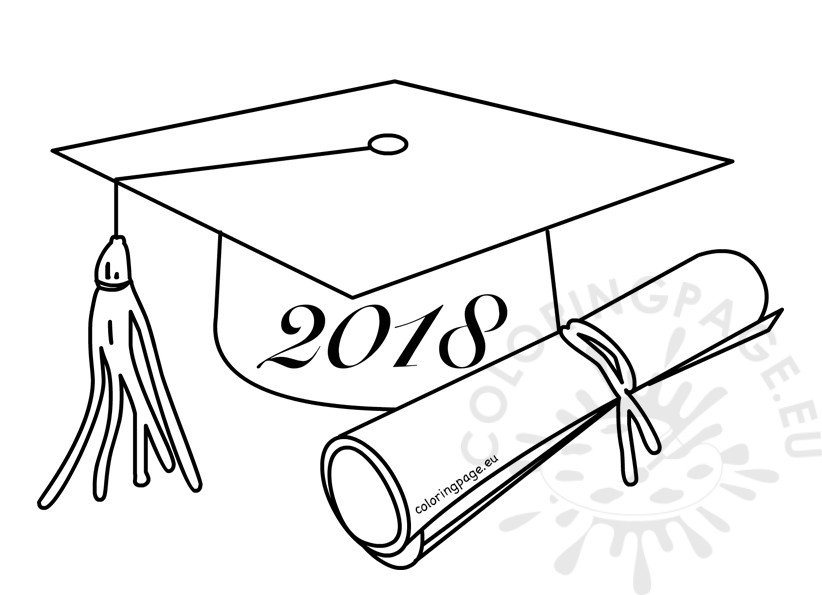 Class of 2018 graduation cartoon drawing coloring page for Graduation cap and diploma coloring pages