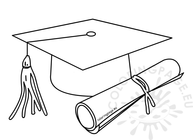 Outlined graduate cap with diploma coloring page for Graduation cap and diploma coloring pages