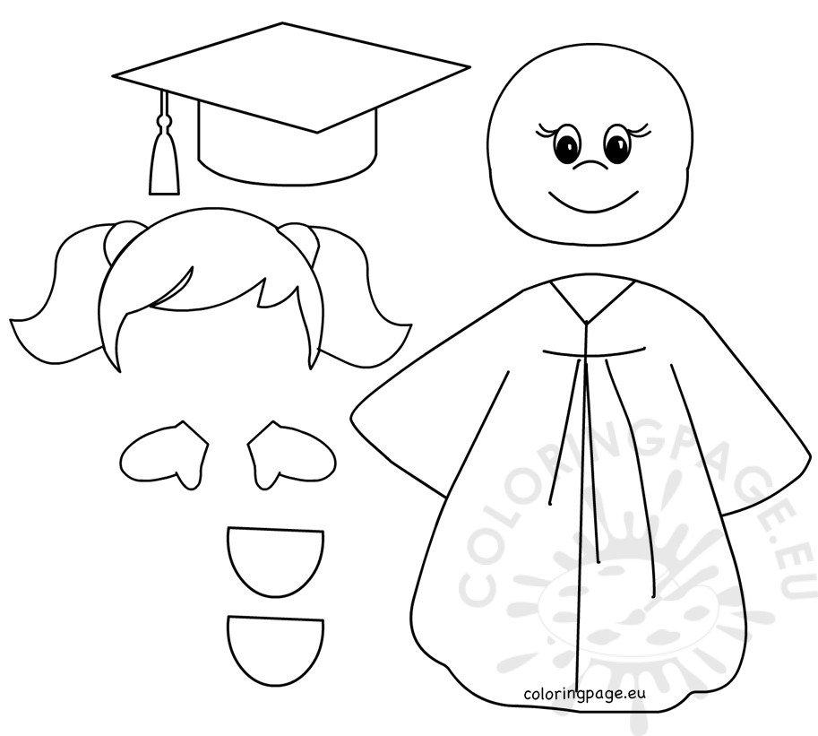 Preschool Graduation Girl templates Coloring Page