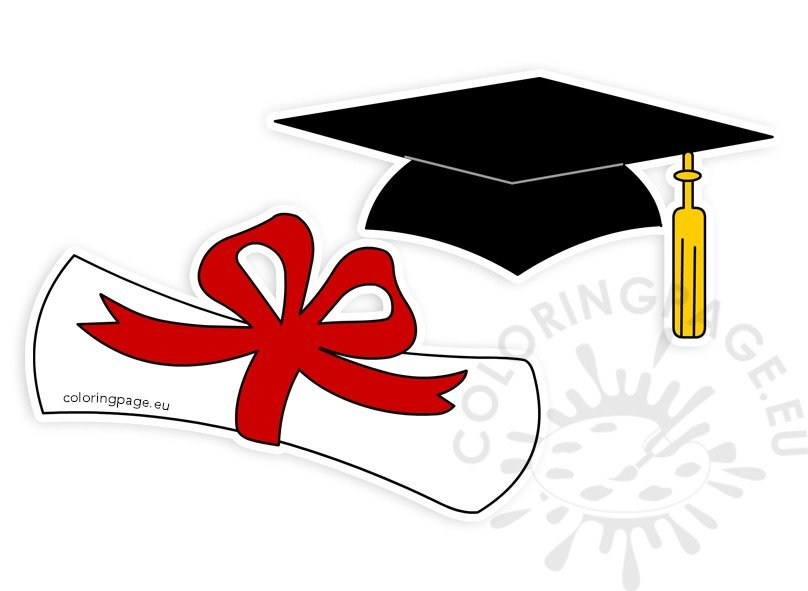 graduation hat rolled diploma clipart coloring page rh coloringpage eu graduation-cap-diploma-clipart free graduation cap and diploma clipart
