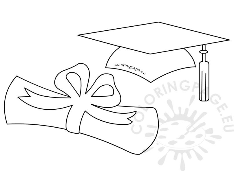 picture about Graduation Cap Template Free Printable referred to as Commencement hat and rolled degree Coloring Web site