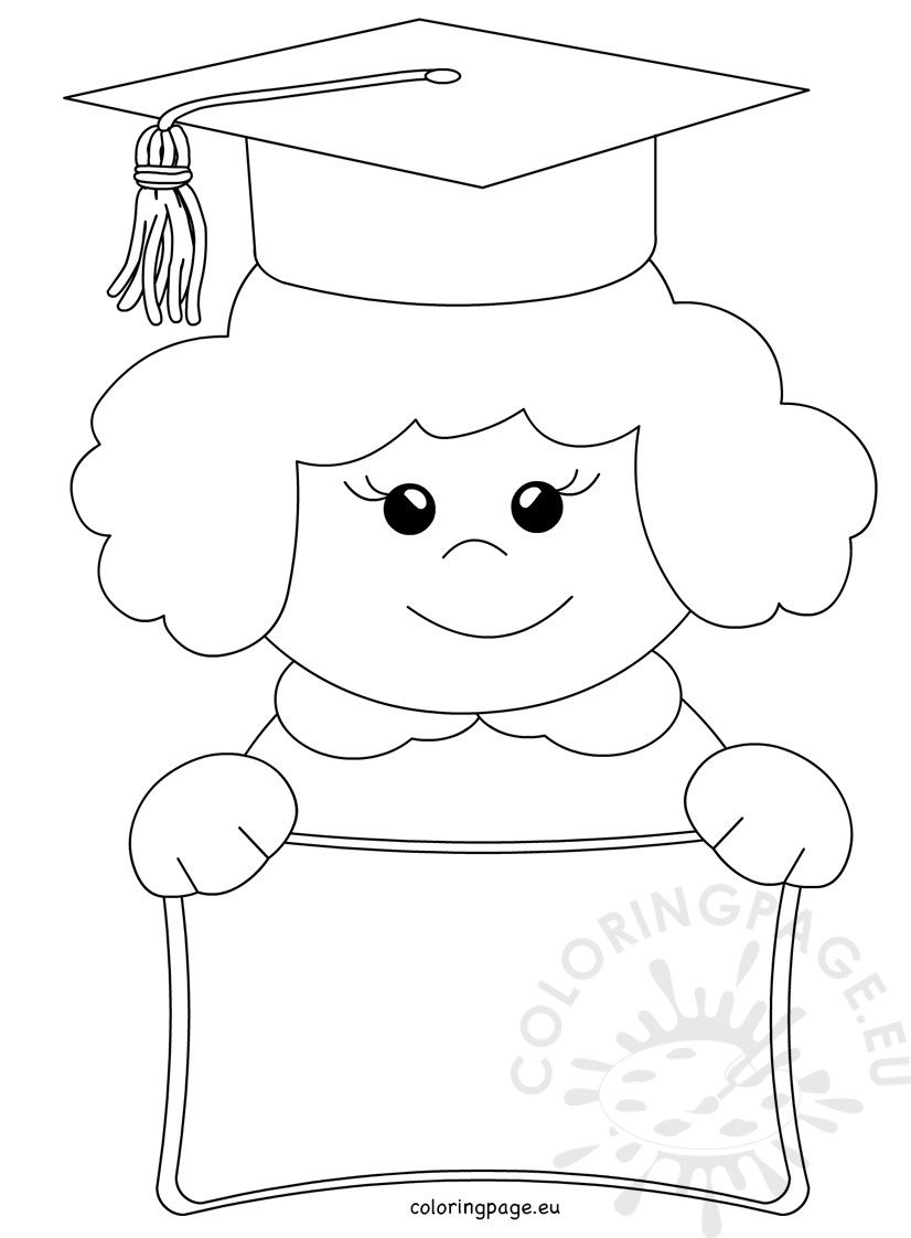Vector Cartoon Happy child graduate Coloring Page