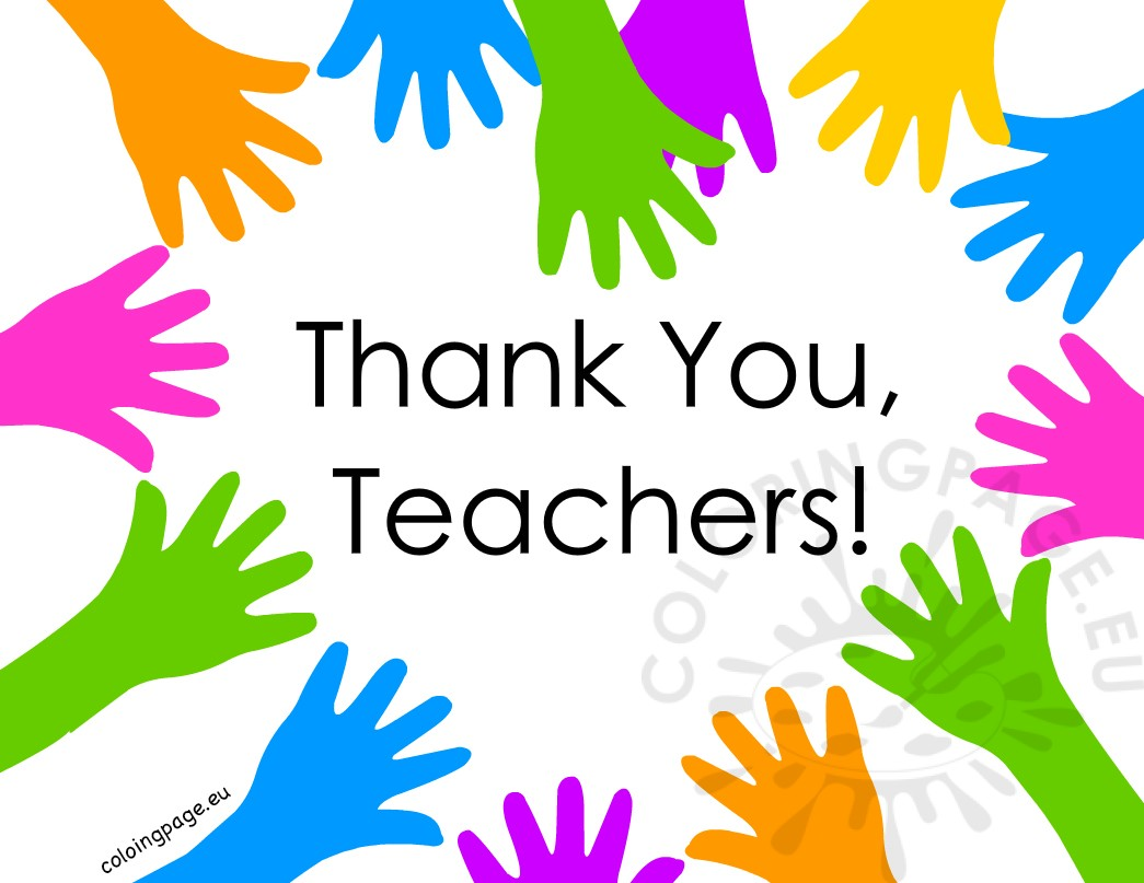 Thank You Teachers Hand Heart