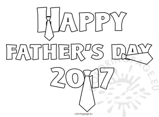 happy fathers day 2017 words coloring to print