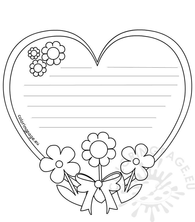 Heart Writing Template Mothers Day | Coloring Page