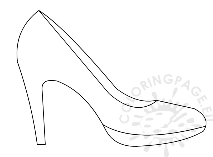 High heel shoe template coloring page for High heel template for cards