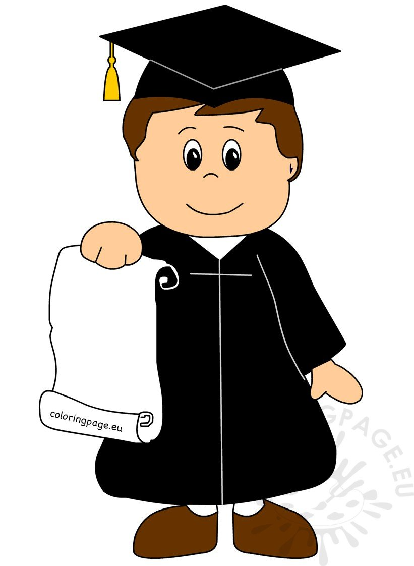 kid graduate vector illustration coloring page