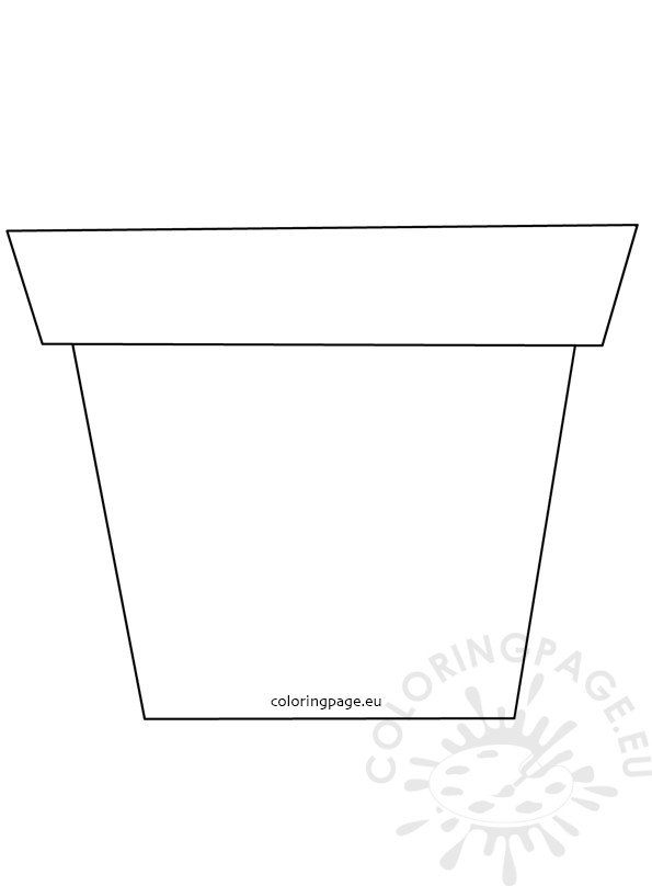 Large Flower Garden Pot Template Coloring Page