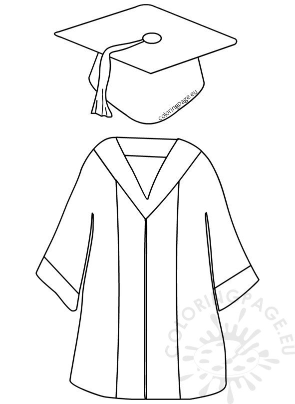 Preschool Graduation Cap and Gown Coloring Page