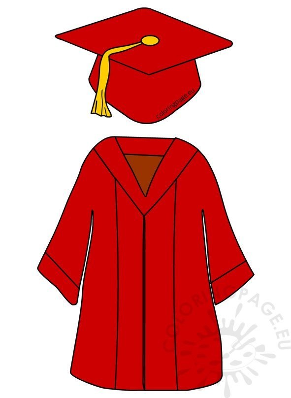 Red Preschool Graduation Cap And Gown | Coloring Page