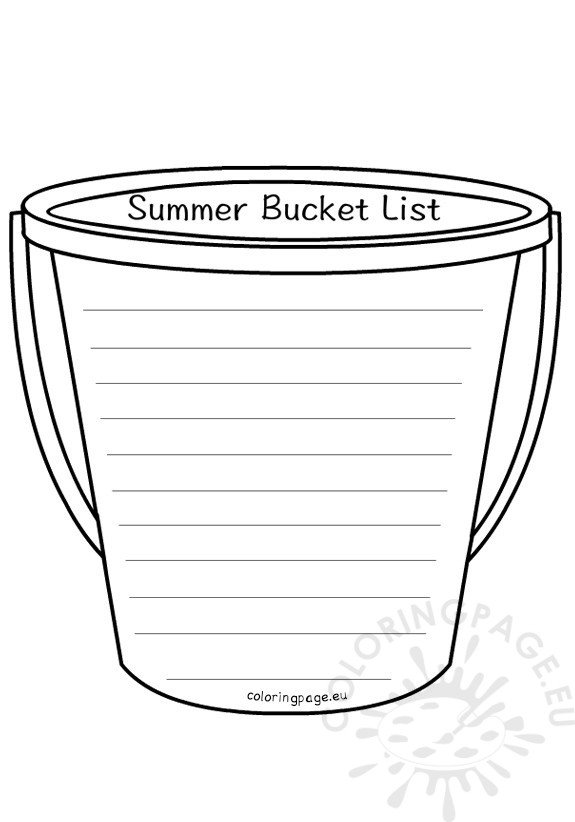 End School Year Summer Bucket List Coloring Page