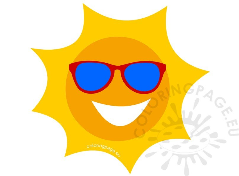 sun with sunglasses coloring page - happy sun with sunglasses cartoon illustration coloring page