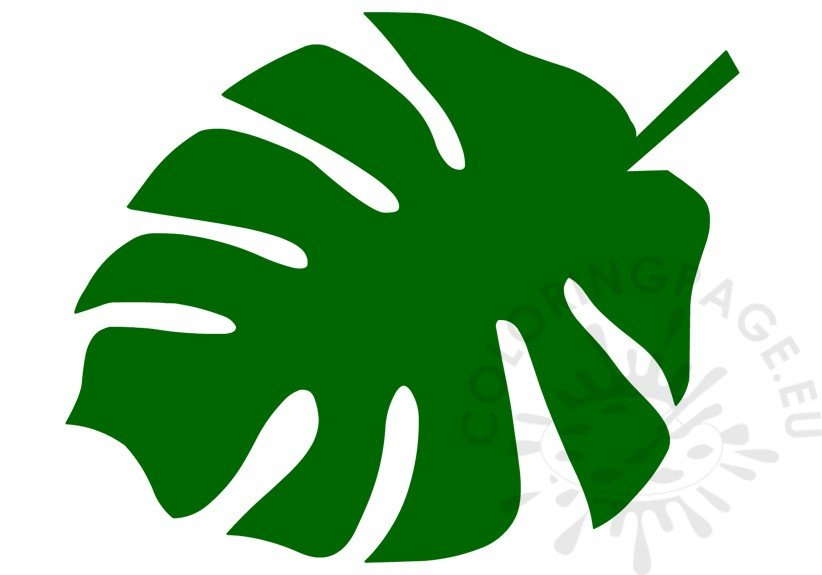 Green Tropical Leaf Template  Coloring Page
