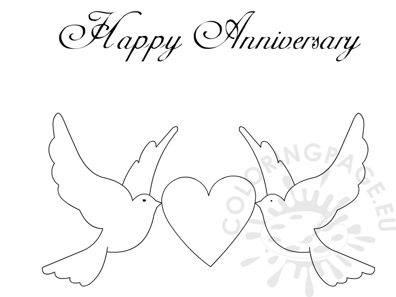 Happy Anniversary Doves and Heart card – Coloring Page