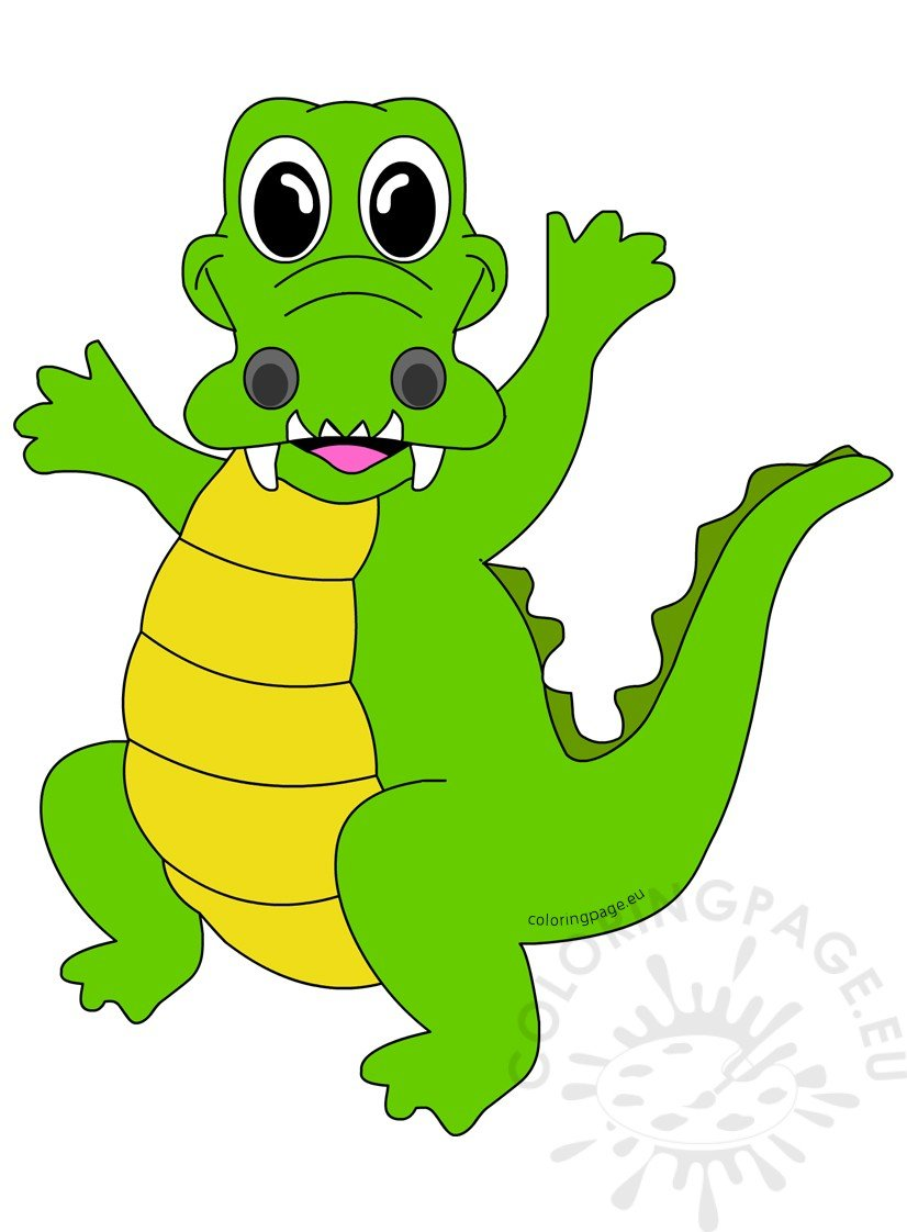 Vector Illustration Happy crocodile | Coloring Page