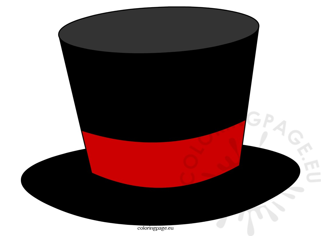 top hat coloring page - black top hat magician coloring page