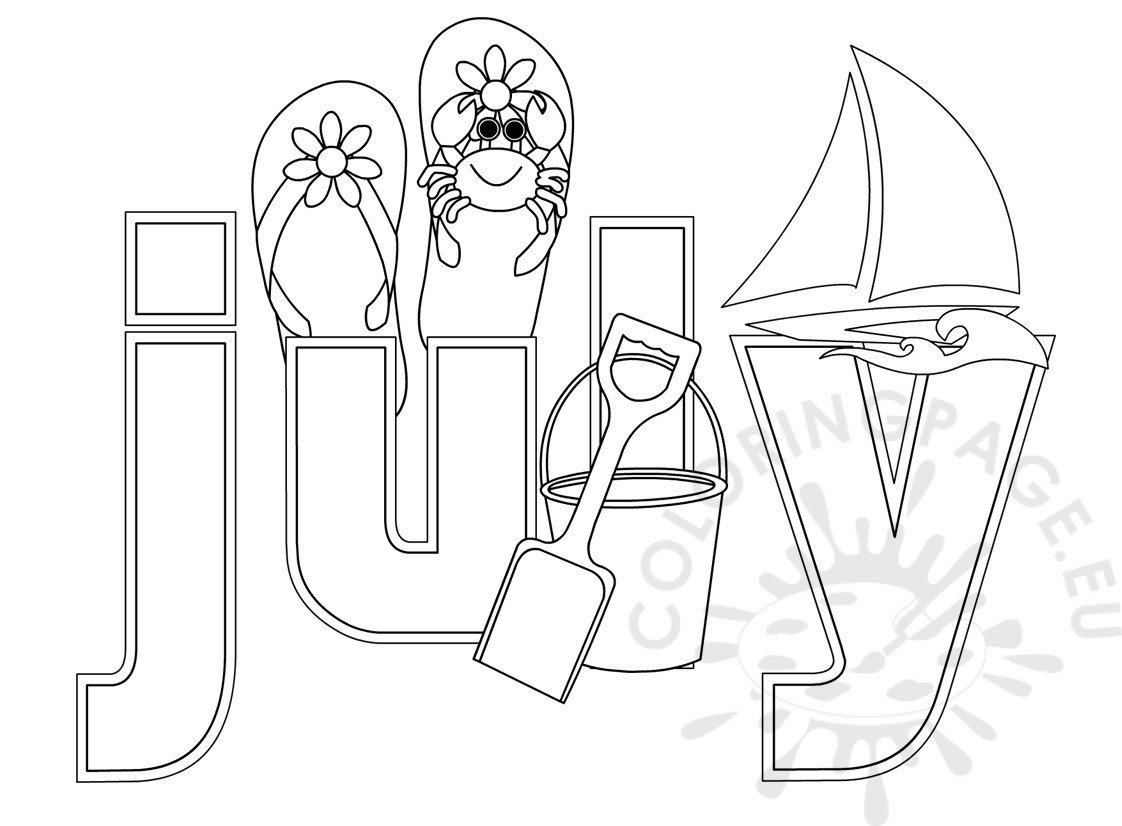 july coloring pages Summer Month July coloring sheet | Coloring Page july coloring pages