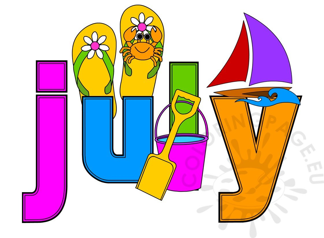 summer month july image coloring page