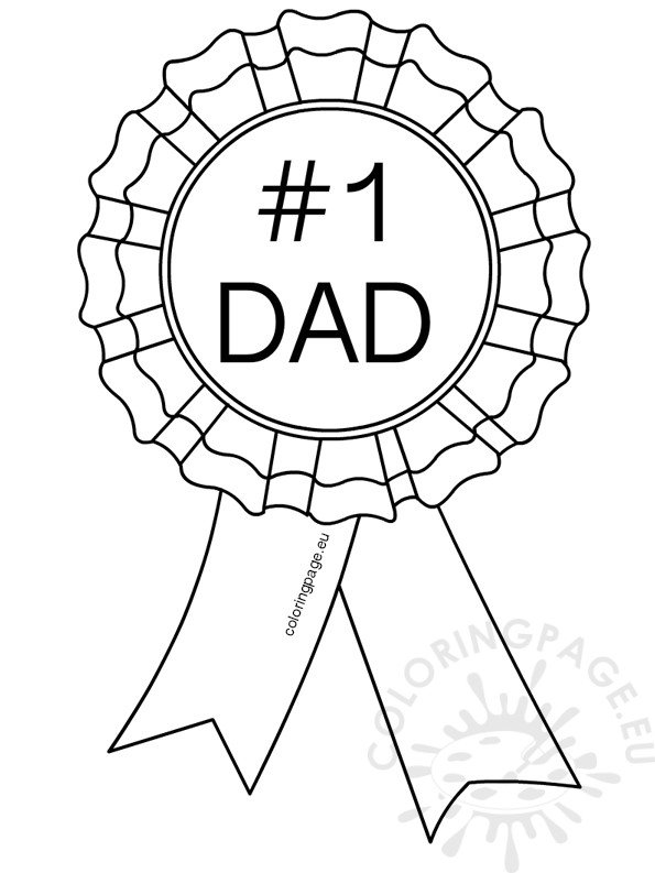 Number 1 Dad Rosette Coloring Page