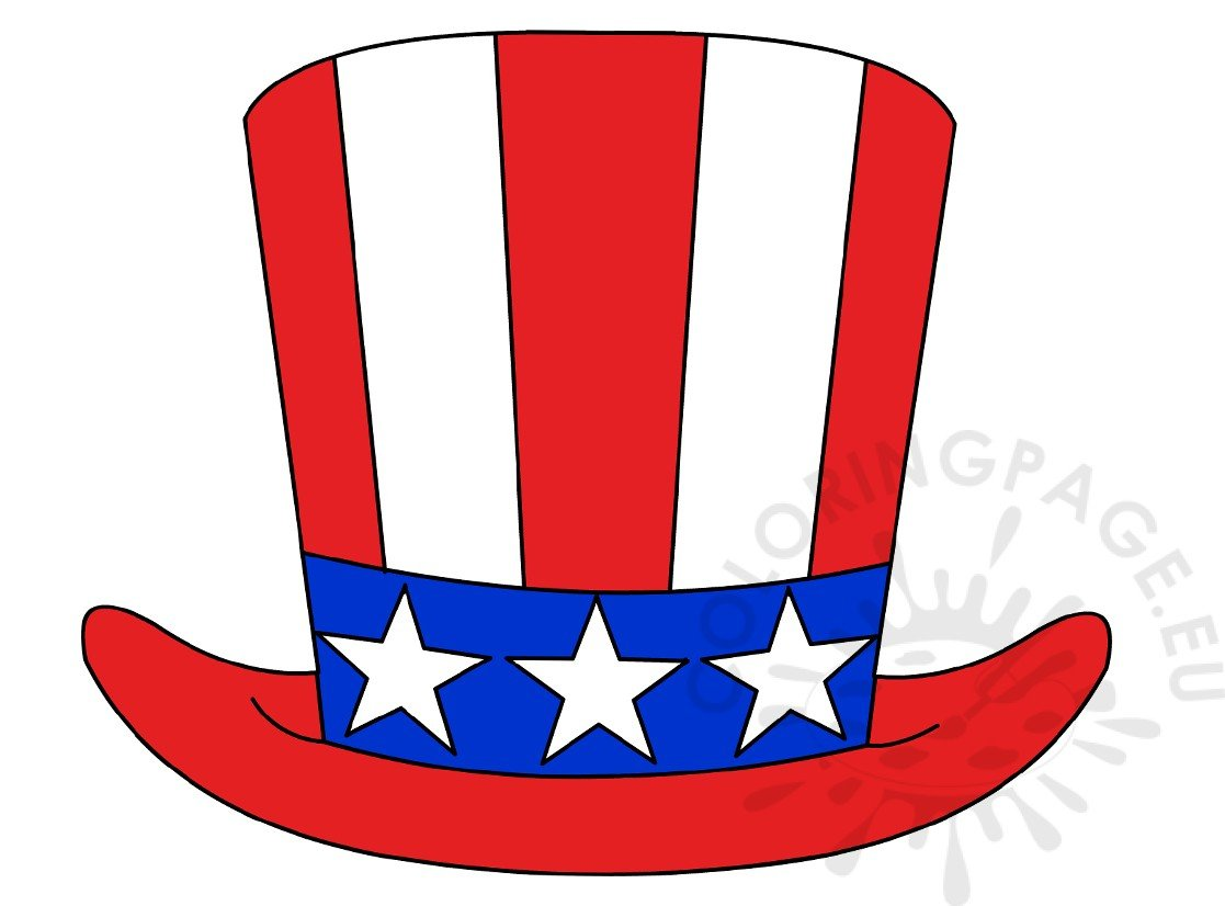 vector illustration patriotic uncle sam hat 4th july coloring page