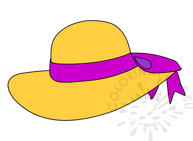 Women 39 s straw hat with purple ribbon coloring page for Ladies hat coloring pages